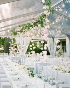 Beautiful white and greenery wedding venue Wedding Reception Flowers, Tent Reception, Floral Wedding, Wedding Venues, Whimsical Wedding, Wedding Table, Wedding Dress, Garden Wedding, Dream Wedding