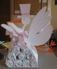 Stork Bundle - made of receiving blanket & diapers