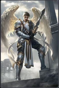 Maskulin- Sky Crusader of Thormont (God of Wind) Fantasy Male, Fantasy Armor, Dark Fantasy, Fantasy Character Design, Character Inspiration, Character Art, Male Angels, Angels And Demons, Paladin