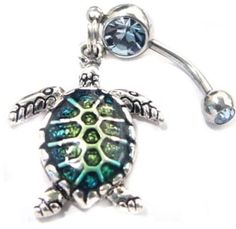 Lovely Sea Turtle Blue Stone Steel Sea LIfe Bar BELLY NAVEL BUTTON RING in Jewelry & Watches | eBay