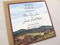 Vineyard Wedding Save the Date  by islapaperpress on Etsy