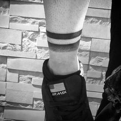 Lower Leg Shaded Black Band Mens Tattoos