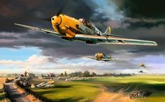 Bf-109E's taking off.