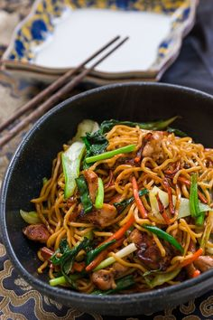 Easy Chicken Chow Mein loaded with five spice marinated chicken and vegetables.