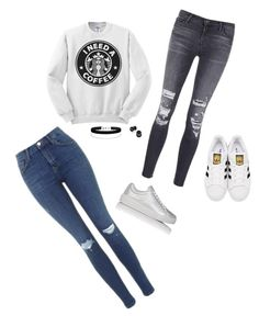 """Starbucks!"" by psoto-1 ❤ liked on Polyvore featuring J Brand, Topshop, Prada Sport, adidas Originals and Miss Selfridge"