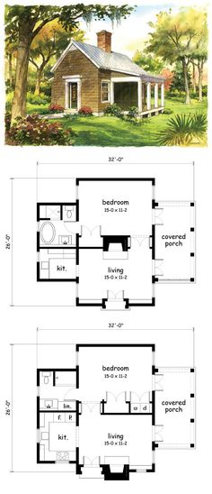 I like the idea of this plan, but there are some major problems if you're actually going to live in it. The living room design is crazy for such a small room. Where would you put the furniture? Also, imagine having to go to the bathroom when you're in the kitchen. You'd have to walk the length of the house twice with where the bedroom door is. And a bathroom with a separate shower and tub but such a small kitchen? No. So the changes to the bottom plan are the ones I would make.