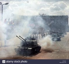 East German National People's Army Army tanks during a military parade for May 1 outside of the GDR State Council building on Marx-Engels-Platz in East Berlin, Germany. May 1, 1968.