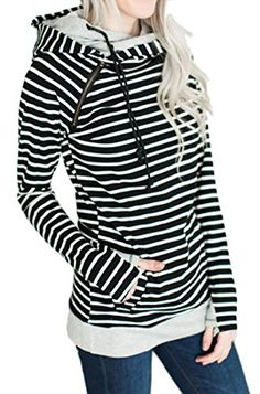 Lelili Women Hoodie Jacket Plus Size Fashion Striped Long Sleeve Zip Up Drawstring Hooded Outwear Coat