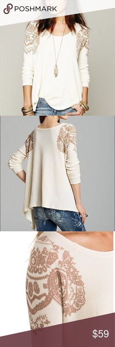 """Free People Thermal Free People """"Rockabilly Raglan"""" Thermal. Cream color with light brown print on the shoulders. Oversized flowy fit, size small. In excellent condition   No trades No modeling No ️aypal No Merc ✅Posh Rules ✅Use Offer Button ✅Bundle for 15% off Free People Tops"""