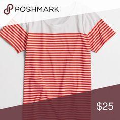J. Crew Drop-Striped Scoopneck T-Shirt Color: Ripe Papaya.                                                                    Cotton. Machine wash.                                                                                         J. Crew Factory.  #37 J. Crew Tops