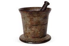 Antique Cast Iron Mortar and Pestle