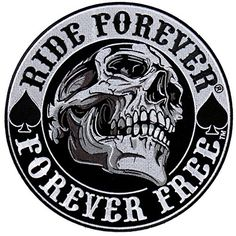 """[Single Count] Custom and Unique (3.5"""" inch) """"Biker"""" Round Ride Forever, Forever Free with Gothic Dark Skull Iron On Embroidered Applique Patch {Black, White and Gray Colors} mySimple Products http://www.amazon.com/dp/B013PRK4QE/ref=cm_sw_r_pi_dp_89AGwb00YTN68"""