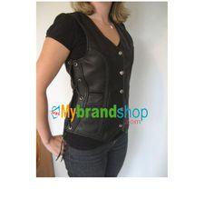 Women Black Leather Vest Side Laced Waistcoat
