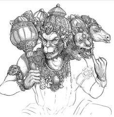 Shiva Art, Shiva Shakti, Krishna Art, Hanuman Tattoo, Hanuman Chalisa, Durga, Hanuman Photos, Hanuman Images, Black Pen Sketches