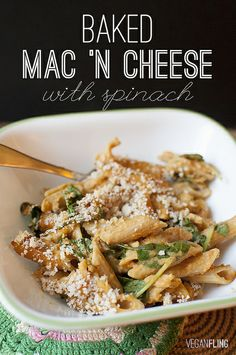 Baked Mac 'N Cheese with Spinach | Vegan Fling