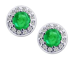 14K White Gold Emerald Stud Earrings with Diamonds