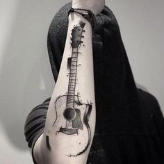 Our Website is the greatest collection of tattoos designs and artists. Find Inspirations for your next Geometric Tattoo. Search for more Tattoos. Acoustic Guitar Tattoo, Guitar Tattoo Design, Music Tattoo Designs, Music Tattoos, Word Tattoos, Body Art Tattoos, New Tattoos, Tattoos For Guys, Tatoos
