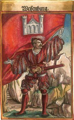 """Weißenburg [Weissenburg] (= Wissembourg)  (f°116) -- Koebel, Jacob, """"Wapen des heyligen römischen Reichs teutscher Nation"""", Franckfurth am Main, 1545 [BSB Ms. Rar. 2155]"""