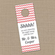 25 Custom Chevron Wedding Guest Door Hangers - this would be so cute for a welcome gift at hotel!