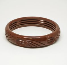 Engraved Caramel Bakelite Bangle