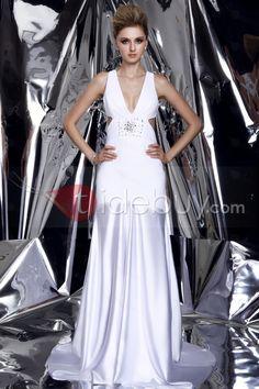 魅力的カラム/シースVネックノースリーブ床まで届く長さダーシャのプロム/イブニングドレス