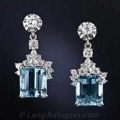 Cool blue Emerald-Cut Aquamarines and Diamond Earrings