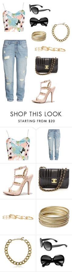 """""""Untitled #18"""" by wiejeje ❤ liked on Polyvore featuring Boohoo, H&M, Wild Diva, Chanel, Kendra Scott, Steve Madden, BERRICLE and Ray-Ban"""