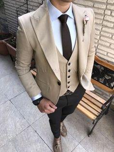 Terziademaltun - İtalyan kesim erkek ceket yelek pantolon bej kombin T1766  (1)