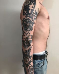 Elbow Tattoos, Dope Tattoos, Black Tattoos, Body Art Tattoos, Tattoos For Guys, Traditional Tattoo Arm, Traditional Tattoo Black And White, Ma Tattoo, Houston Tattoos