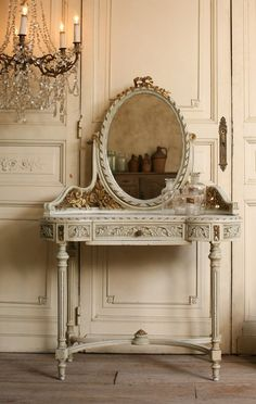 Vintage Louis XVI French Style Vanity Gilt Roses