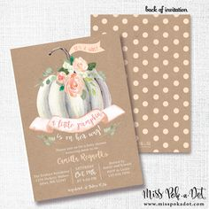 LITTLE PUMPKIN is on her way, fall, girl, baby shower invitation, sprinkle, invite, white pumpkin, rustic, watercolor, boho chic, bohemian by misspokadot on Etsy