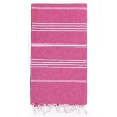 Turkish-T Fuschia Striped Beach/Bath Towel