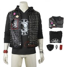 Item Find High Quality Wrench Costume Watch Dogs 2 Cosplay Black Punk Outfit in our shop. You will get the best price! Game Costumes, Punk Outfits, Mephisto, Cosplay Dress, Womens Size Chart, Long Toes, Vest Jacket, Item Number, Dog Tags