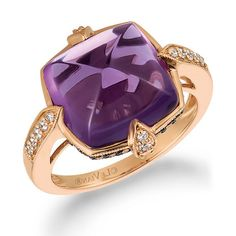 Le Vian® Cushion-Cut Grape Amethyst™ and 1/3 CT. T.W. Diamond Ring in 14K Strawberry Gold®