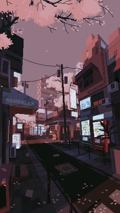 waneella is creating pixel art | Patreon Pixel Art Background, Background Designs, Animation Background, Anime Backgrounds Wallpapers, Nice Wallpapers, Aesthetic Wallpapers, Gif Iphone, Phone Lockscreen, Pixel City