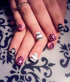 LCN gel nails, pink, black, and white #stripes #polkadot #zebra