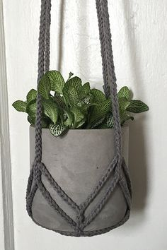 CROCHET PLANT HANGER grey chevron by GreyOwlGoods on Etsy More