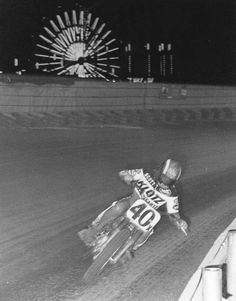 9-time AMA Dirt Track champ Scott Parker at the Indy Mile. This photo was from 1980 when he won Rookie of the Year.