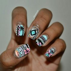 tribal nails - 65 Colorful Tribal Nails Make You Look Unique