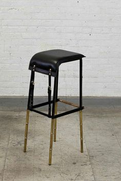 Jacques Adnet; Enameled Metal, Leather and Brass Barstool, c1950.