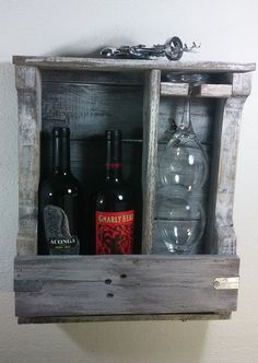 Reclaimed Wine Rack White Hanging Wine Rack by OurWoodsCreations