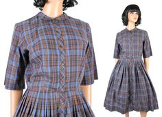 Vintage 50s Shirtwaist Dress Sz M Blue Red Yellow Plaid Cotton Pleated Skirt Free US Shipping by HepCatClothes on Etsy