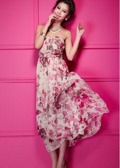 Romantic Flower Print Empire Waist Chiffon Strapless Dress