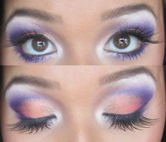 Orange, pink, and purple shadow. Sunset inspired, perhaps?