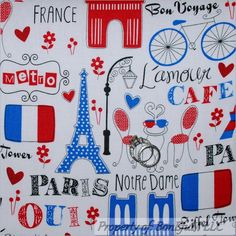 BonEful FABRIC FQ Cotton Quilt White Red Blue Paris Dot Bike Eiffel Tower Poodle #TimelessTreasuresFabric