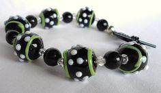 Lampwork glass bracelet. Lime Green and Black!