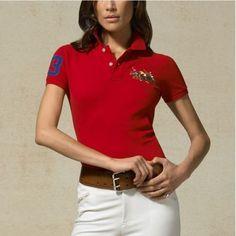 Ralph Lauren Refined Logo Red Fashion Neck Short Sleeved [rl 1001] - $40.14  :
