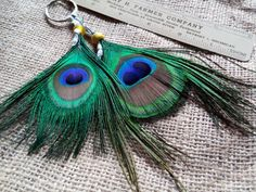 Peacock Feather Key Chain Beautifully by CherylsGoodStuff on Etsy