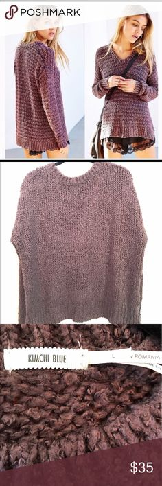 Urban Outfitters Kimchi Blue Knitted Sweater Great condition. Short in the front and long in the back. Sweater is a plum color. Super soft. Urban Outfitters Sweaters Crew & Scoop Necks