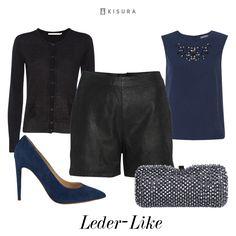 +++ Leather Pants +++ Ledershorts, blaues Top, Strickcardigan, blaue Pumps, Clutch mit Strasssteinen // black & blue. leather shorts, embellished top, knit cardigan, pointy heels, diamonded clutch.